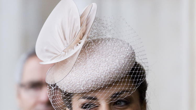 Britain's  Kate Duchess of Cambridge arrives for a service of thanksgiving to celebrate Queen Elizabeth's  60-year reign during Diamond Jubilee celebrations in St Paul's Cathedral, London, Tuesday, June 5, 2012. (AP Photo/Tim Hales, Pool)