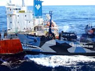 This photo, taken on February 25, 2013 and released by Japan's Institute for Cetacean Research, shows the Sea Shepherd ship Bob Barker (R) colliding with the Japanese whaling fleet fuel tanker the San Laurel. Militant anti-whaling group Sea Shepherd says Japan's entire harpoon fleet has left the Antarctic whale sanctuary and is heading north