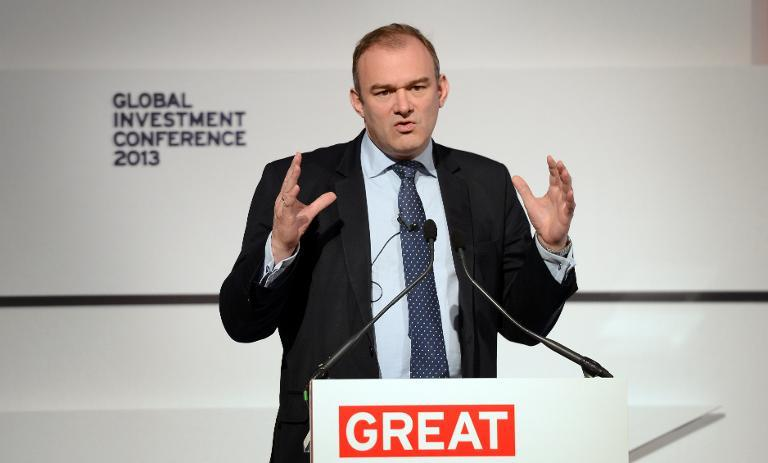 British Energy and Climate Change Secretary Ed Davey addresses the Global Investment Conference in London on May 9, 2013