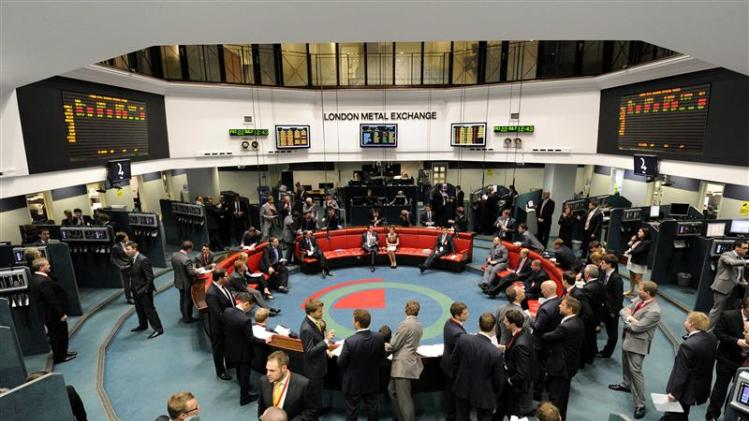 File picture shows traders and clerks working at the London Metal Exchange in London