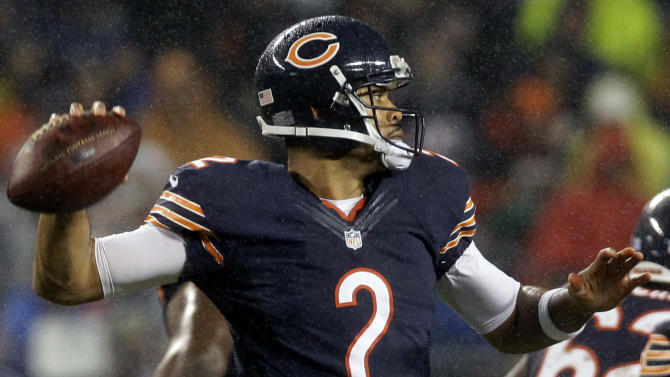 Chicago Bears quarterback Jason Campbell (2) passes against the Houston Texans during the second half an NFL football game, Sunday, Nov. 11, 2012, in Chicago. (AP Photo/Nam Y. Huh)