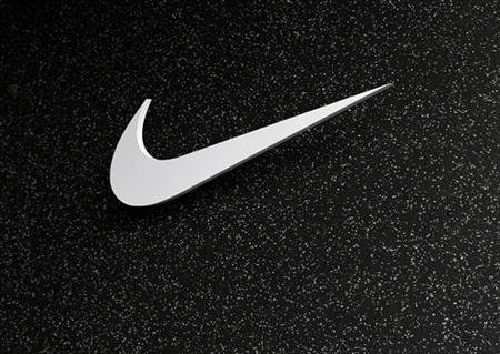 The company logo of Nike is shown at the U.S. Olympic athletics trials in Eugene, Oregon June 21, 2012.