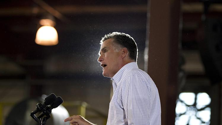Republican presidential candidate, former Massachusetts Gov. Mitt Romney speaks during a campaign stop at LeClaire Manufacturing on Wednesday, Aug. 22, 2012, in Bettendorf, Iowa  (AP Photo/Evan Vucci)
