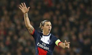 Paris St-Germain's Ibrahimovic reacts during their Champions League soccer match against Anderlecht at the Parc des Princes Stadium in Paris