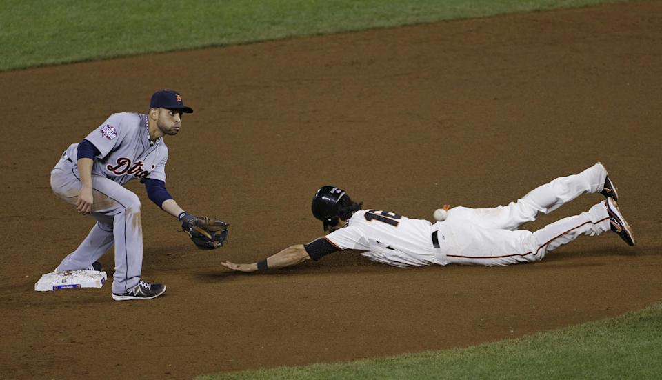 San Francisco Giants' Angel Pagan steals second with Detroit Tigers' Omar Infante covering during the eighth inning of Game 2 of baseball's World Series Thursday, Oct. 25, 2012, in San Francisco. The Giants won 2-0 to take a 2-0 lead in the series.  (AP Photo/Jeff Chiu)