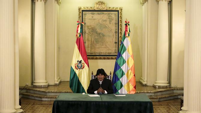 Bolivia's President Evo Morales speaks during a new conference at the presidential palace in La Paz