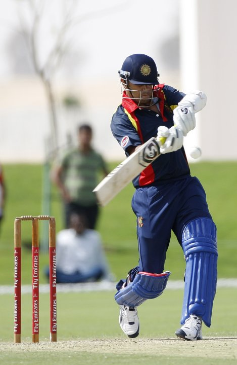 Marylebone Cricket Club's Dravid plays a shot against Sussex Sharks during their Emirates Twenty20 cricket match in Dubai