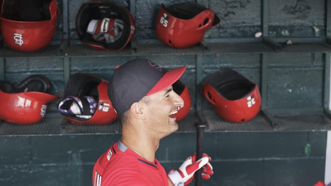 St. Louis Cardinals shortstop Dean Anna is seen in the dugout before a spring training exhibition baseball game against the Detroit Tigers in Lakeland, Fla., Saturday, March 28, 2015. (AP Photo/Carlos Osorio)