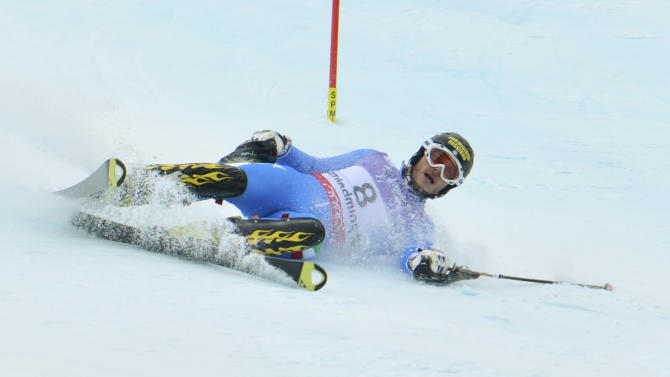 Italy'sGiulianoRazzoli during the first run of the men's slalom at the Alpine skiing world championships in Schladming, Austria, Sunday, Feb. 17, 2013. (AP Photo/Kerstin Joensson)