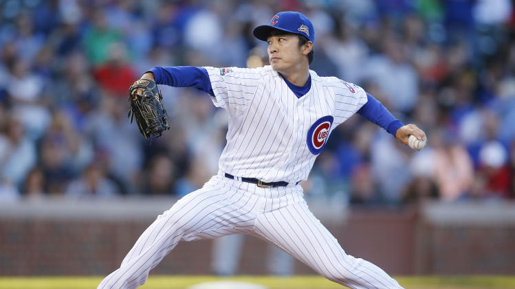 Chicago Cubs starting pitcher Tsuyoshi Wada delivers against the San Diego Padres during the first inning of a baseball game on Wednesday, July 23, 2014, in Chicago. (AP Photo/Andrew A. Nelles)