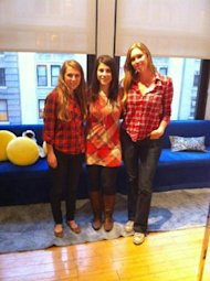 These ladies all got the red plaid memo before heading in to work