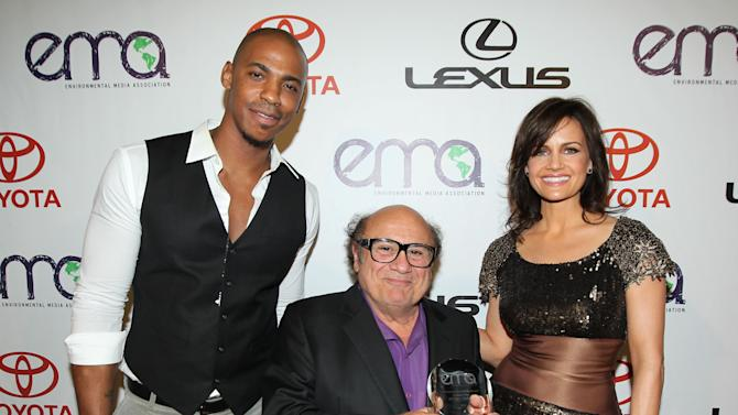 IMAGE DISTRIBUTED FOR  ENVIRONMENTAL MEDIA ASSOCIATION - From left, Mehcad Brooks, Danny DeVito and Carla Gugino are seen backstage at the 22nd Annual Environmental Media Awards on Saturday Sept. 29, 2012, at Warner Bros. Studios in Burbank, Calif. (Photo by Matt Sayles/Invision for Environmental Media Association/AP Images)