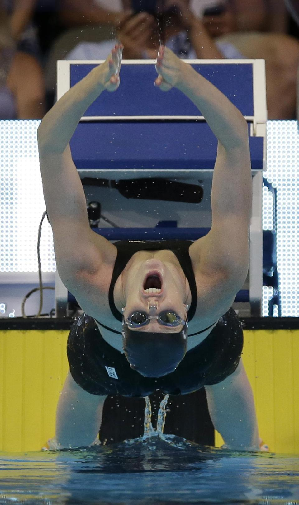 Missy Franklin starts in the women's 100-meter backstroke preliminaries at the U.S. Olympic swimming trials, Tuesday, June 26, 2012, in Omaha, Neb. (AP Photo/David J. Phillip)