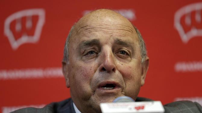 Wisconsin Athletic Director Barry Alvarez speaks at a news conference Thursday, Dec. 6, 2012, in Madison, Wis. Alvarez announced that he will coach the team in this year's Rose Bowl, replacing former football coach Bret Bielema who took a job as head coach at Arkansas. (AP Photo/Morry Gash)