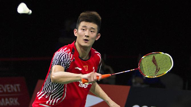Chen Long of China in action during the men's single match quarter final in the Badminton World Championship in Copenhagen on August 29, 2014