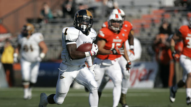 Kent State's Dri Archer (1) runs the ball into the end zone on a 79-yard run during the first half of an NCAA college football game against Bowling Green, , Saturday, Nov. 17, 2012, in Bowling Green, Ohio. (AP Photo/J.D. Pooley)