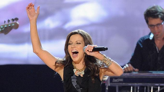 "Musician Martina McBride performs ""Ride"" on stage during the 42nd Annual CMA Awards at the Sommet Center on November 12, 2008 in Nashville, Tennessee."