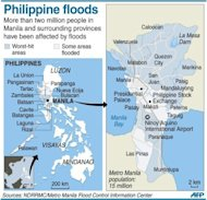 Graphic map locating areas in and around the Philippine capital Manila that have been hit by worst flooding. Philippine authorities have scrambled to provide food and other emergency provisions to more than two million people affected by widespread flooding, as the death toll rose to 66