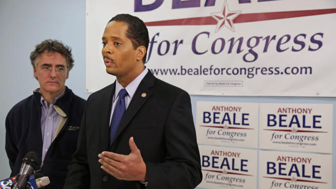 In this Feb. 7, 2013 photo, U.S. Congressional hopeful Chicago Alderman Anthony Beale speaks at a news conference in Chicago where Cook County Sheriff Tom Dart, left, endorsed him in his bid replace former U.S. Rep. Jesse Jackson Jr. in Illinois' 2nd District. Residents in the 2nd District are preparing to vote in a special primary Feb. 26 to replace Jackson in the Chicago area district that has seen three congressmen leave office in an ethical cloud. Jackson entered a guilty plea in Washington, Feb. 20 to criminal charges that he engaged in a scheme to spend $750,000 in campaign funds on personal items. He resigned in November 2012. (AP Photo/M. Spencer Green, File)