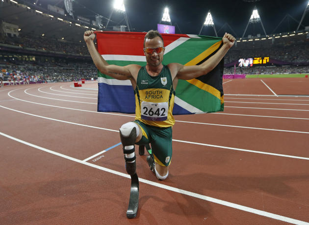 South Africa's Oscar Pistorius celebrates winning the Men's 400m T44 classification at the Olympic Stadium during the London 2012 Paralympic Games