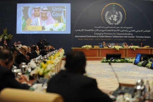 Delegates attend a counter-terrorism conference in Riyadh today. A senior Saudi official told an international conference on security on Saturday that the &quot;terrorist&quot; threat remains and urged global cooperation to combat it