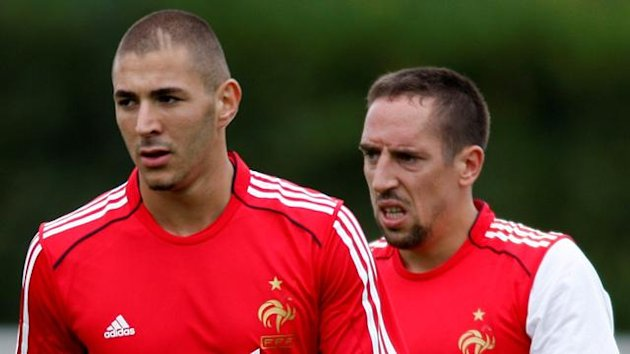 France's Karim Benzema and Franck Ribery (Reuters)