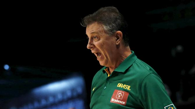 Brazil's head coach Magnano reacts during their 2015 FIBA Americas Championship basketball game against Dominican Republic in Mexico City
