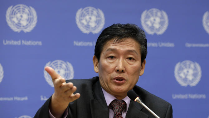 Deputy Permanent Representative of the Democratic People's Republic of Korea Ri Tong Il, responds to a question during his news conference at United Nations headquarters, Monday, March 24, 2014. (AP Photo/Richard Drew)