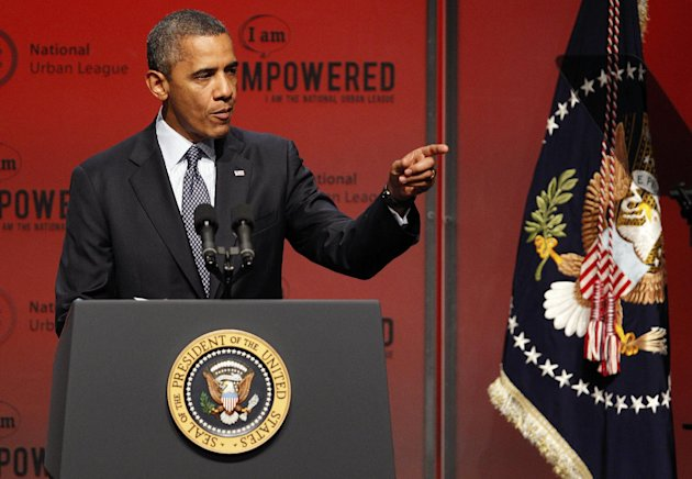 President Barack Obama address the National Urban League Conference in New Orleans, Wednesday, July 25, 2012. (AP Photo/Bill Haber)