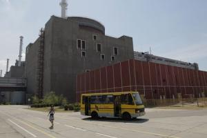 An exterior view of the Zaporizhzhya nuclear power plant is seen in the town of Enerhodar