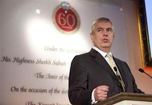 Britain's Prince Andrew speaks at an event at Lancaster House to mark the 60th Anniversary of the Kuwait Investment Office, attended by the Emir of Kuwait, Sheikh Sabah al-Ahmad al-Sabah, in central London