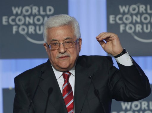 Palestinian President Mahmoud Abbas addresses the participants at the World Economic Forum in Istanbul