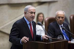 Israel's Prime Minister Netanyahu delivers a speech during a session marking the 65th anniversary of the Israeli parliament in Jerusalem
