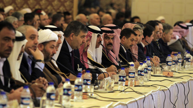 In this Sunday, Nov. 18, 2012 photo, participants listen to a speaker during the 'Syria National Dialog' conference, at the Esteghlal Hotel in Tehran, Iran. Just a day after Iran's foreign minister pledged unwavering support for the embattled Assad, officials in Tehran outlined on Sunday a step-by-step peace plan for Syria capped by elections that presumably could usher in a new leader in Damascus. (AP Photo/Vahid Salemi)