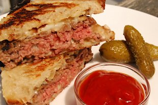 Grilled Patty Melt on Sourdough with Spicy Ketchup