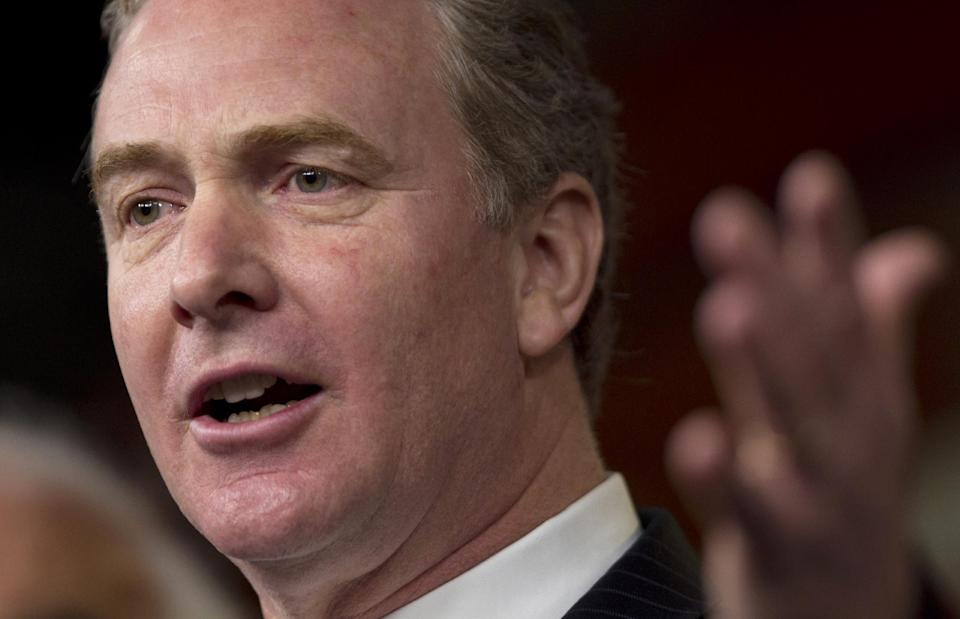 Rep. Chris Van Hollen, D-Md., gestures during a news conference on the payroll tax cut on Capitol Hill on Thursday, Dec. 22, 2011 in Washington.  (AP Photo/Evan Vucci)