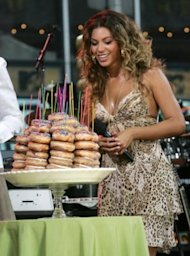 Beyoncé with a doughnut birthday