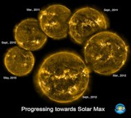 These six extreme UV images of the sun by NASA's Solar Dynamics Observatory track the rising level of solar activity as the sun ascends toward the 2013 peak of the current 11-year sunspot cycle, called Solar Cycle 24.