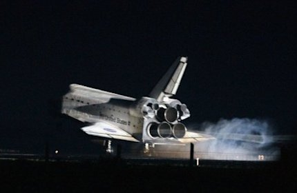 Atlantis landed safely at Kennedy Space Center at 5:56 am (0956 GMT)