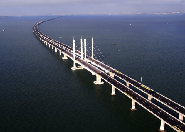 This photo taken Tuesday, June 21, 2011 released by China's Xinhua news agency shows the Jiaozhou Bay Bridge in Qingdao, east China's Shandong Province. China opened Thursday, June 30, 2011, the world