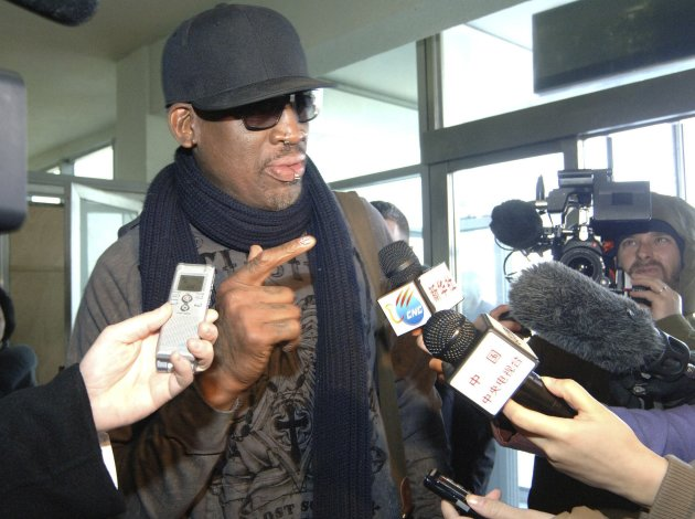 Former NBA star Dennis Rodman speaks to media just before he leaves Pyongyang