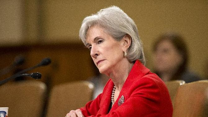 FILE - In this April 12, 2103 file photo, Health and Human Services (HHS) Secretary Kathleen Sebelius testifies on Capitol Hill in Washington. Just eight weeks remain before uninsured Americans can start shopping online for subsidized health insurance under the president's overhaul. Sebelius said Monday consumers can now go online to healthcare.gov and create personal accounts by establishing a username and password. (AP Photo/J. Scott Applewhite)