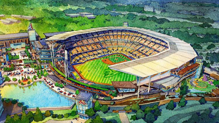 This artist rendering provided by the Atlanta Braves shows the team's proposed new ballpark and mixed-use development design in Cobb County. The stadium is scheduled to open in 2017, replacing Turner Field. (AP Photo/Atlanta Braves)