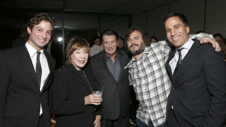 "ICM's Ared Ceizler, Shirley MacLaine, ICM's Jack Gilardi, Jack Black and ICM's Justin Deanda attend a celebration for ""Bernie"" by Millennium Entertainment on Tuesday Oct. 30, 2012, in Los Angeles.  (Photo by Todd Williamson/Invision for Millennium Entertainment/AP Images)"