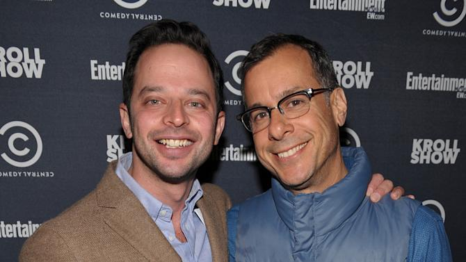 """Actor/comedian Nick Kroll, left, and Comedy Central's Head of Original Programming and Production Kent Alterman attend an exclusive screening of Comedy Central's """"Kroll Show"""" hosted by Entertainment Weekly on Tuesday, January 15, 2013 at LA's Silent Movie Theatre in Los Angeles. (Photo by John Shearer/Invision for Entertainment Weekly/AP Images)"""