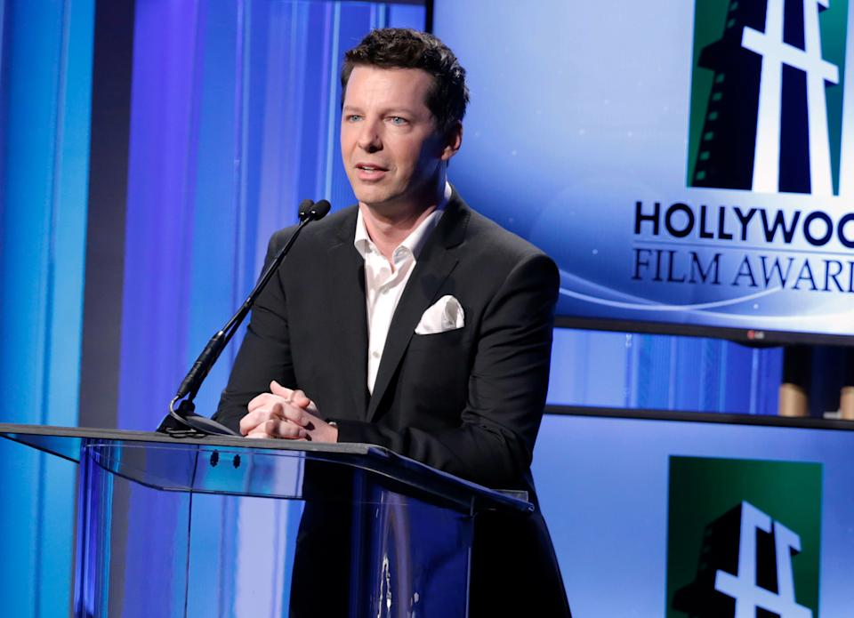 Sean Hayes speaks on stage at the 17th Annual Hollywood Film Awards Gala at the Beverly Hilton Hotel on Monday, Oct. 21, 2013, in Beverly Hills, Calif. (Photo by Todd Williamson/Invision/AP)