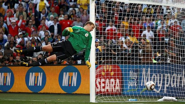 Manuel Nueur watches Frank Lampard&#39;s shot in the 2010 World Cup drop over the line - it was not given