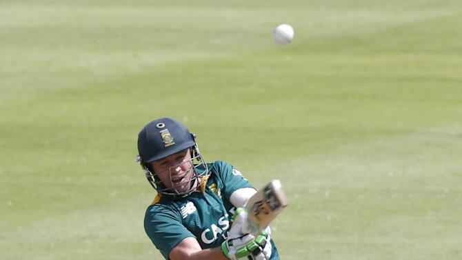 South Africa's de Villiers plays a shot during the One Day International Cricket match against England in Cape Town