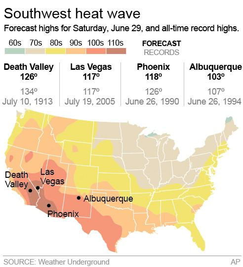 Graphic shows forecast heat wave temperatures for June 29 and compares to previous record highs.;