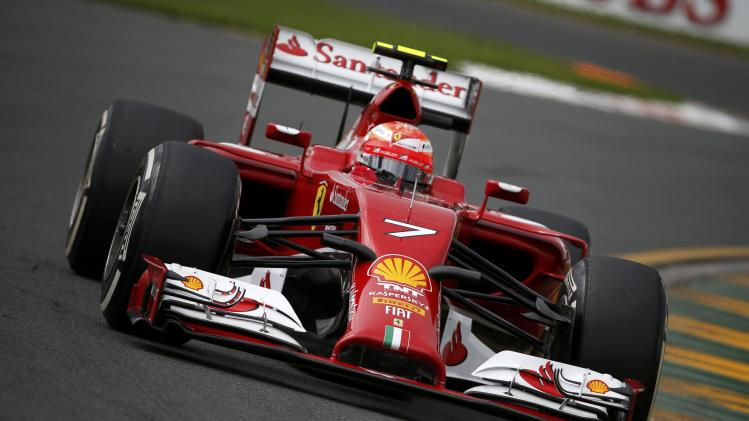 Ferrari Formula One driver Raikkonen of Finland takes a corner during the third practice session of the Australian F1 Grand Prix in Melbourne